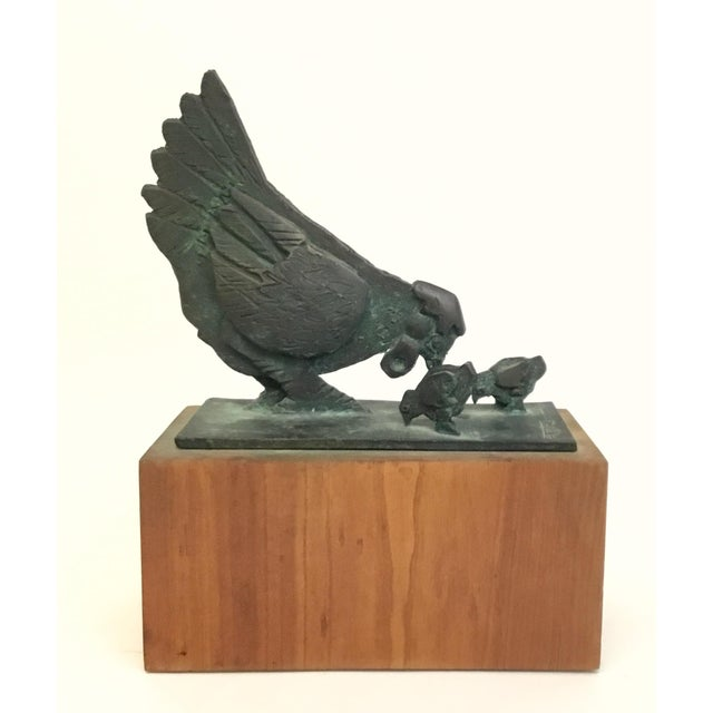 Mid-Century Modern Bronze Sculpture of Chicken and Chicks James Pearson For Sale - Image 3 of 9