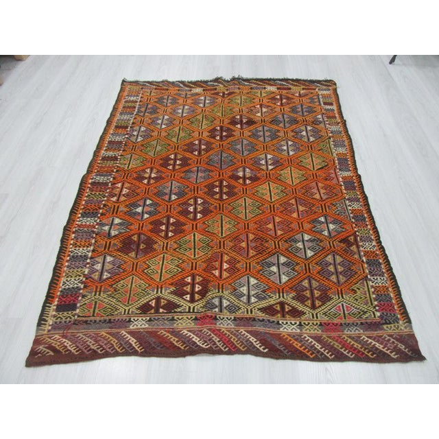 Handwoven Embroidered kilim rug from Western Turkey. In very good condition. Approximately 45-55 years old.