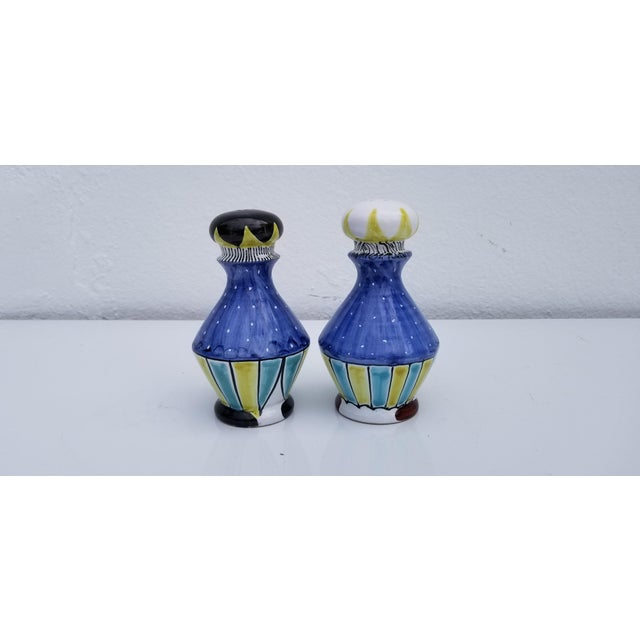 1970s 1970s Vintage Italian Hand Painted Ceramic Salt and Pepper Shakers - A Pair For Sale - Image 5 of 9
