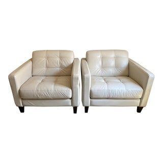 Modernist Style Imported Italian Leather Chairs - a Pair For Sale