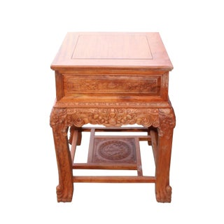 Chinese Oriental Huali Rosewood Foo Dogs Motif Tea Table Stand For Sale