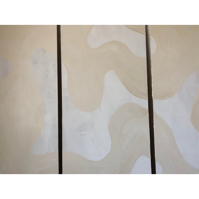 Hannah Polskin original 2018 beige and white abstract acrylic painting on plywood. Gestural motif with monochrome color...