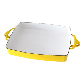 Mid-Century Modern Dansk France Enamel Yellow Baking Pan For Sale