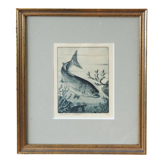 Benson B. Moore Blue Fish Etching For Sale