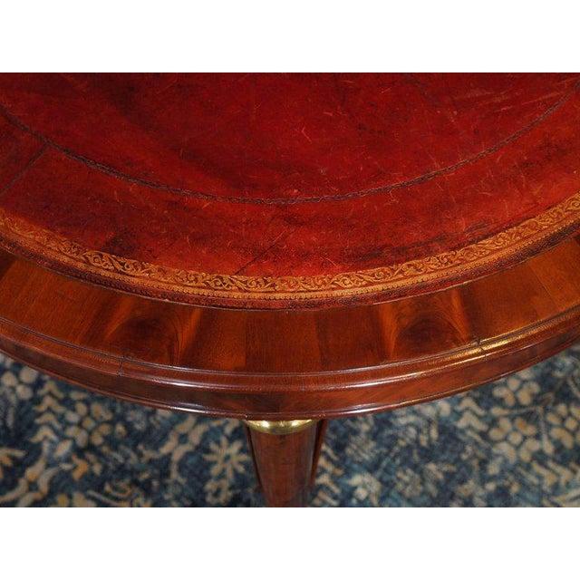 Antique French Louis Philippe Mahogany Leather Top Drum Table, circa 1840 For Sale - Image 4 of 7