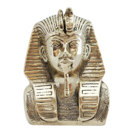 Vintage Brass King Tut Pharaoh Statue For Sale