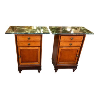 1850 Italian Commode Side Tables With Marble Tops - a Pair For Sale
