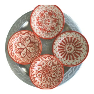 Safi Appetizer Plate, Set of 4 Coral For Sale