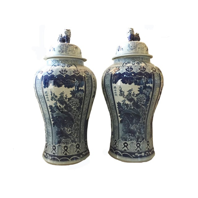 """Mansion Size H. Painted Chinoiserie Ginger Jars - a Pair 47.5"""" H For Sale - Image 9 of 9"""