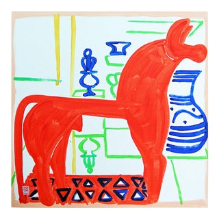 Horsey by Jelly Chen in White Framed Paper, Small Art Print For Sale