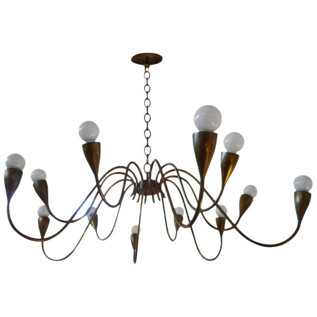 Italian Mid Century Modern Brass Chandelier, Stilnovo Style For Sale