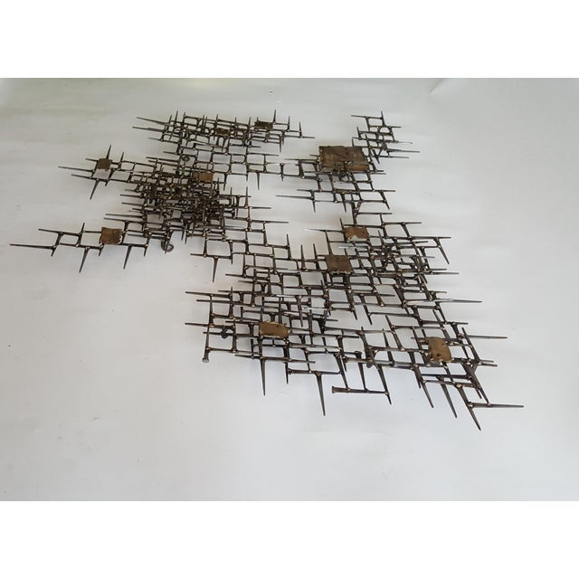 Abstract Brutalist Metal Wall Sculpture of Bronze and Brass - Image 5 of 8