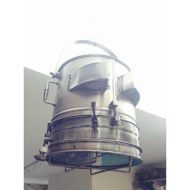 Metal Large Industrial Hanging Pendant Light Chandelier For Sale - Image 7 of 11