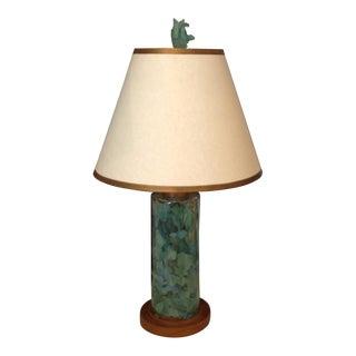 1990s Boho Chic Aqua Seaglass and Wooden Glass Lamp