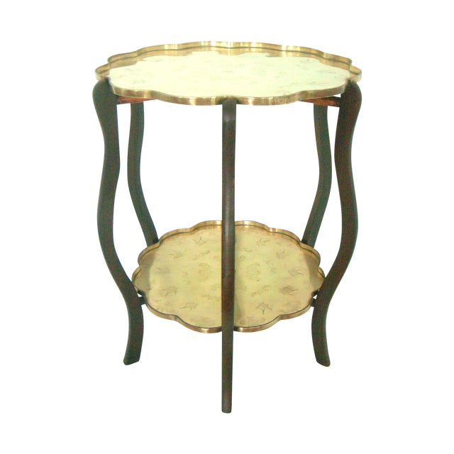 Folding Chinese Two Tier Brass Side Tray Table For Sale