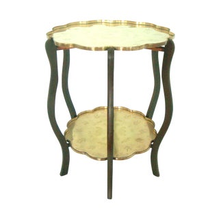 Folding Chinese Two Tier Engraved Brass Side Tray Table With Bats For Sale