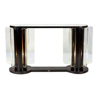 French Art Deco Ebonized Mirror Top Illuminated Console Side Table