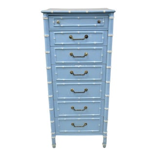 20th Century Chinese Thomasville Allegro Faux Bamboo 7-Drawer Blue Painted Tall Lingerie Chest For Sale