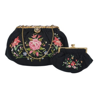 French C.1950 Black Satin Embroidered Handbag With Change Purse For Sale