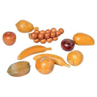 Wooden Carved Fruit - Set of 10