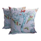 "Image of Thibaut ""Giselle"" Imperial Garden Collection Pink Pillows - A Pair For Sale"