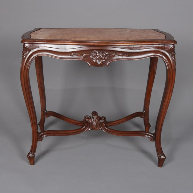 Antique French Louis XV Style Carved Walnut and Marble Center Table, Circa 1900 For Sale - Image 9 of 13