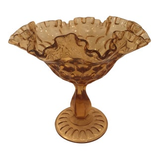 1940s Mid-Century Modern Fenton Ruffled Top Amber Glass Compote Bowl For Sale