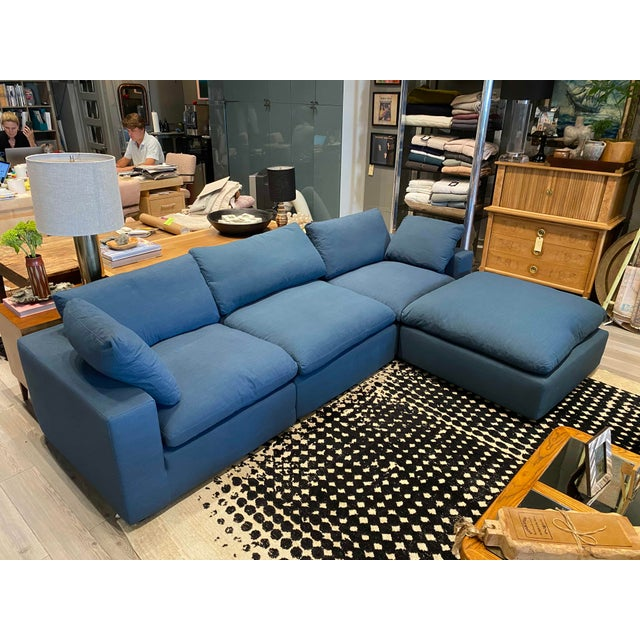 Overstuffed Blue Linen 4 Piece Sectional Sofa For Sale - Image 13 of 13