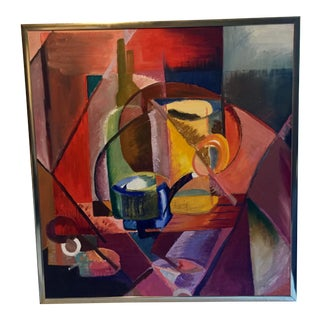 1983 Cubist Style Still Life Acrylic Painting, Framed For Sale