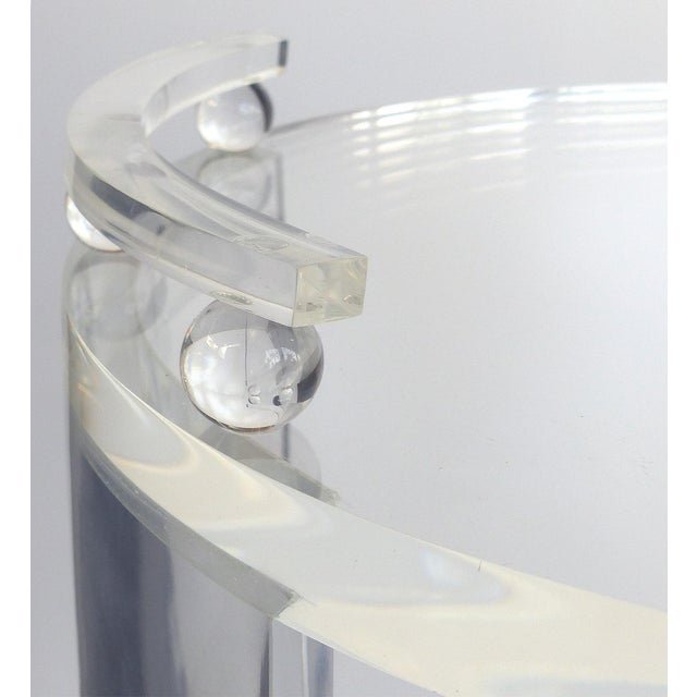 Round Lucite Bar Cart on Casters For Sale In Miami - Image 6 of 11