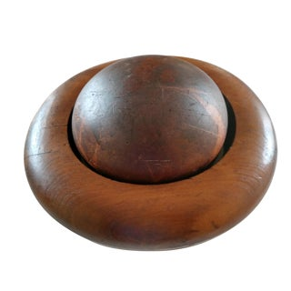 Antique Two Piece Wooden Bowler Hat Millinery Form For Sale