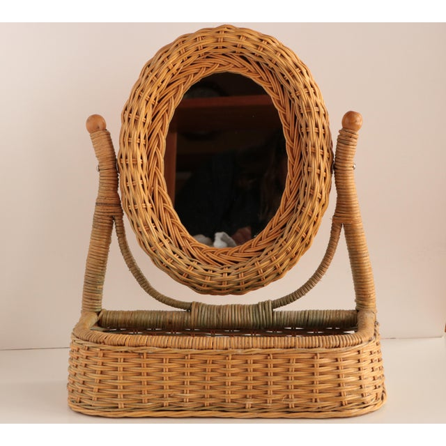 Wicker Vanity Mirror With Storage For Sale In Madison - Image 6 of 6
