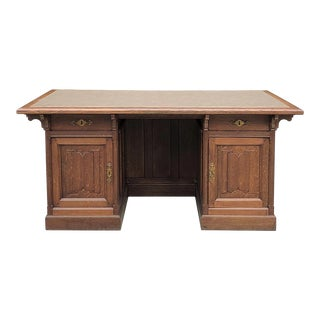 19th Century Gothic Oak Executive Desk For Sale