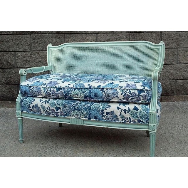 1960s French Cane Back Settee For Sale - Image 5 of 9
