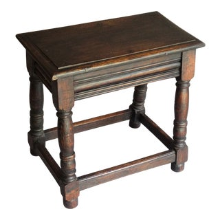 Antique English Oak Joint Joined Turned Stool For Sale