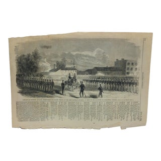 """1861 Antique """"Company of Sucession Cavalry to Colonel Wilcox - of the First Michigan Regiment"""" Harper's Weekly Print For Sale"""