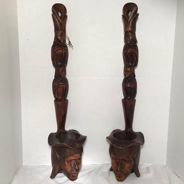 South East Asian Wooden Folk Art Statues For Sale - Image 11 of 11