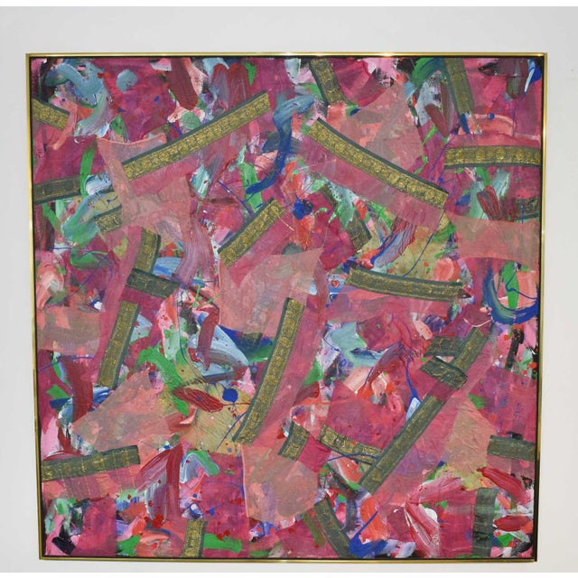 Joseph M. Glasco Oil and Collage on Canvas, #34, Dated 1985 For Sale - Image 12 of 13