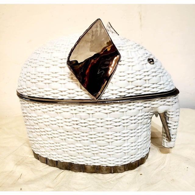 White Italian Gucci Ceramic Elephant Box With Lid For Sale - Image 9 of 9