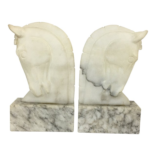Marble Trojan Horse Head Bookends For Sale