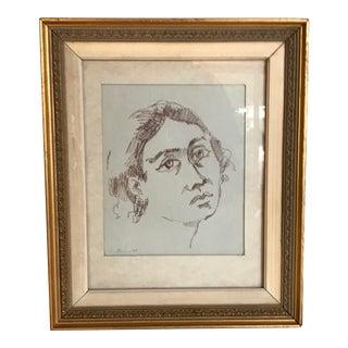 Vintage Woman Portrait Framed Drawing For Sale