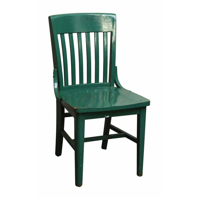 Late 20th Century Green Wood Office Chair For Sale - Image 5 of 5