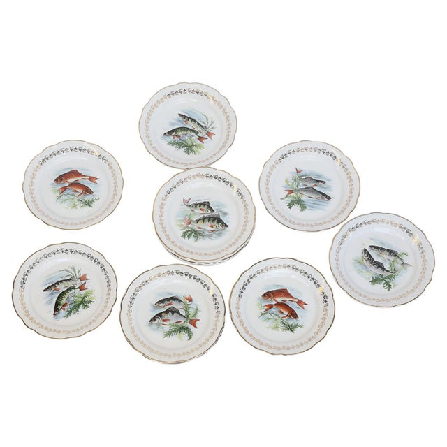 Set of Twelve Digoin and Sarreguemines Fish Plates For Sale - Image 9 of 9