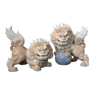 Yoshimi Japanese Porcelain Foo Dogs - a Pair For Sale