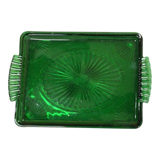 Depression Tray Glassware Green 1929 - 1939 Era For Sale