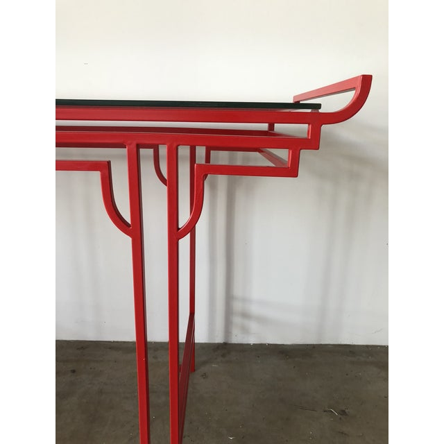 Asian Red Laquer Console With Glass Top For Sale - Image 4 of 6