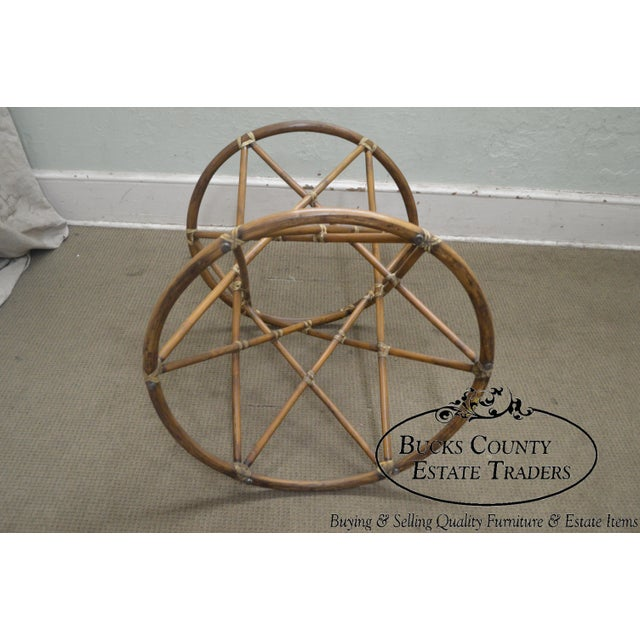 """McGuire of San Francisco 60"""" Round Glass Top Rattan Bamboo Base Dining Table For Sale In Philadelphia - Image 6 of 12"""