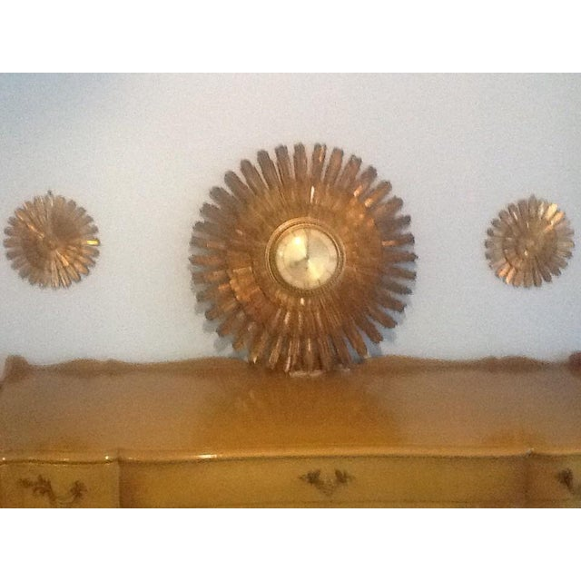 Mid-Century Syroco Wall Clock & Two Starbursts - Set of 3 For Sale - Image 4 of 4