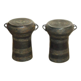 Southeast Asian Bronze Rain Drum Drink Tables - A Pair