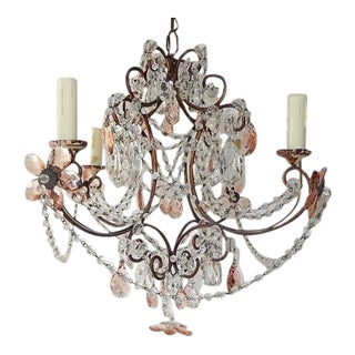 French Pink Maison Baguès Style Crystal Flower Chandelier For Sale